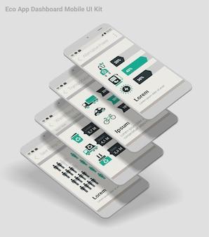 Płaska konstrukcja admin dashboard eco new energy infografiki aplikacja mobilna z interfejsem użytkownika