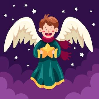 Płaska konstrukcja anioła bożego narodzenia gospodarstwa gwiazdę