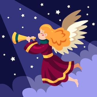 Płaska konstrukcja anioła bożego narodzenia trzymając róg