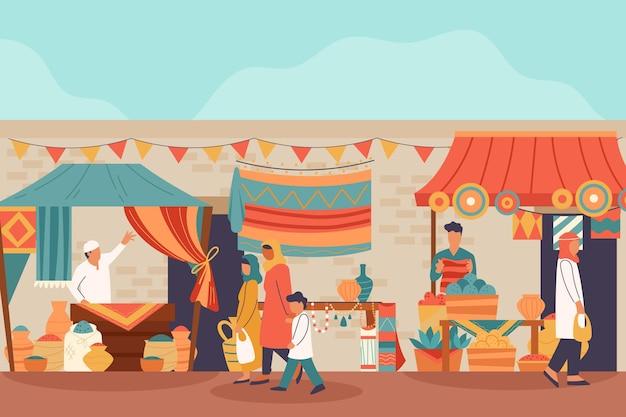 Płaska konstrukcja arabska ilustracja bazaru z ludźmi