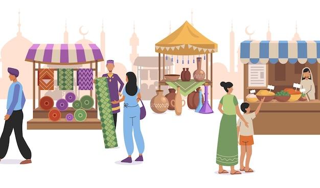 Płaska konstrukcja arabska ilustracja bazaru z postaciami