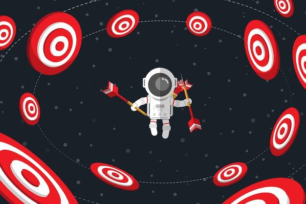 Płaska konstrukcja, astronauta trzymający rzutki unoszący się w przestrzeni wśród czerwonej tarczy