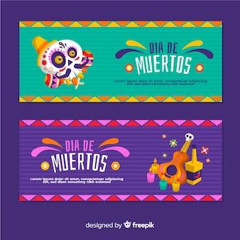 Płaska konstrukcja banerów dia de muertos