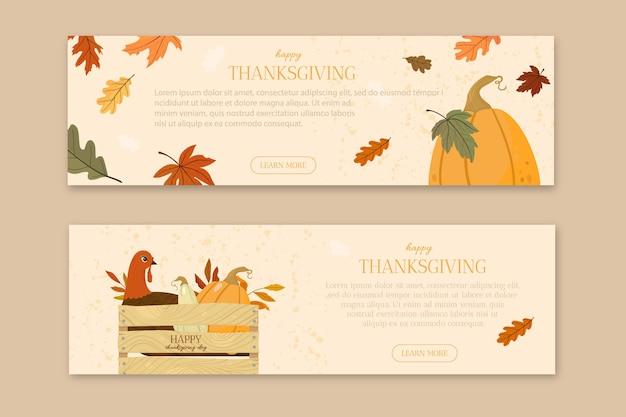 Płaska konstrukcja banery szablon wesołego święta dziękczynienia. jesienny nastrój.