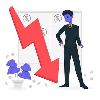 Płaska konstrukcja bankructwo ilustracja koncepcja