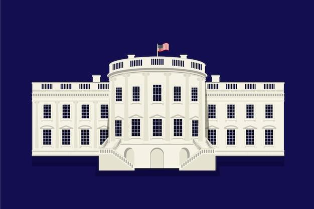 Płaska konstrukcja biały dom na ciemnym tle