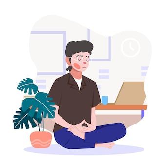 Płaska konstrukcja biznesmena medytacji