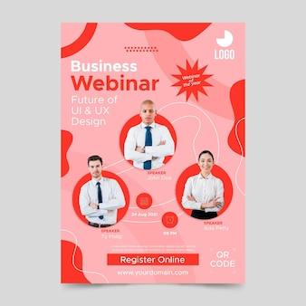 Płaska konstrukcja biznesowa szablon plakatu webinar