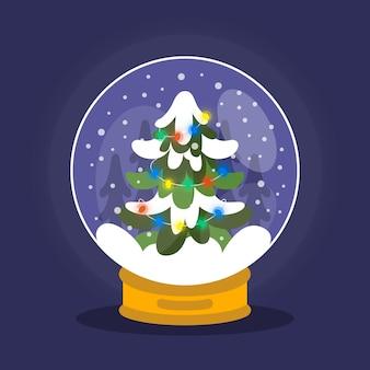 Płaska konstrukcja bożego narodzenia śnieżki glob