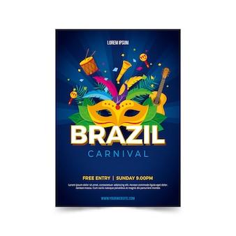 Płaska konstrukcja brazylijskiego karnawału plakat szablon