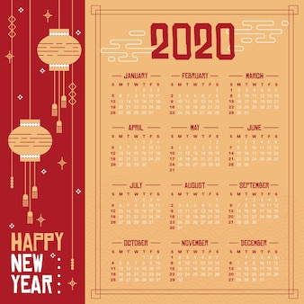 Płaska konstrukcja chińskiego nowego roku kalendarzowego