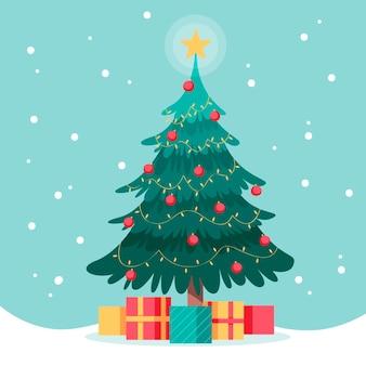 Płaska konstrukcja choinki z prezentami
