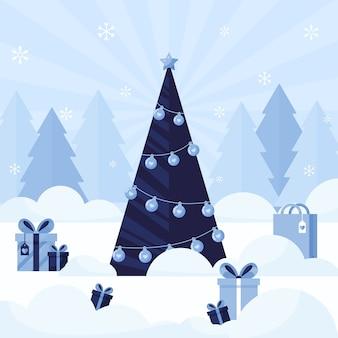 Płaska konstrukcja choinki z prezentem i torbą na zakupy na baner lub pocztówkę. niebieski