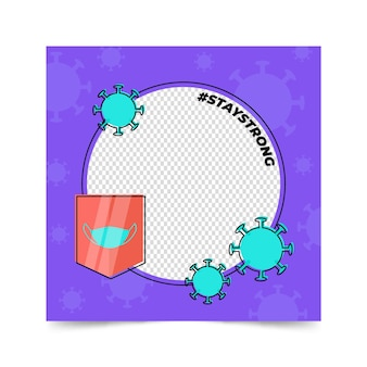 Płaska konstrukcja coronaviręcznie narysowany awatar koronawirusa ramka na facebook ramka na facebooka