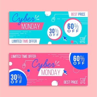 Płaska konstrukcja cyber poniedziałek banery