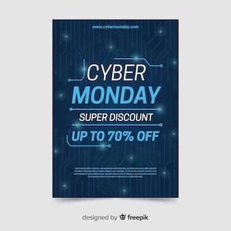 Płaska konstrukcja cyber poniedziałek szablon ulotki