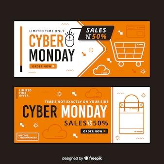 Płaska konstrukcja cyber poniedziałki banery szablon