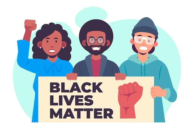 Płaska konstrukcja czarna ilustracja protestujących materii życia