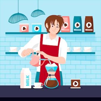 Płaska konstrukcja człowieka parzenia kawy