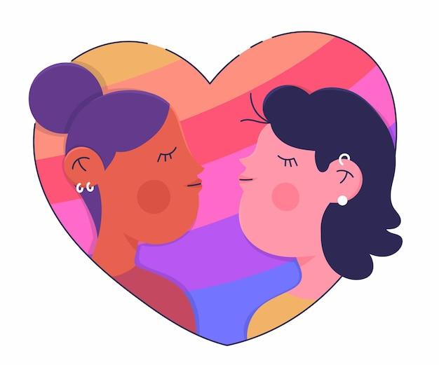 Płaska konstrukcja czuły lesbijski pocałunek