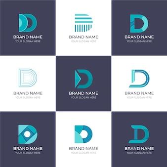 Płaska konstrukcja d kolekcja szablonów logo