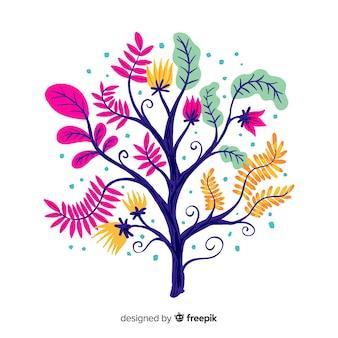 Płaska konstrukcja dekoracyjna gałąź kwiatowy