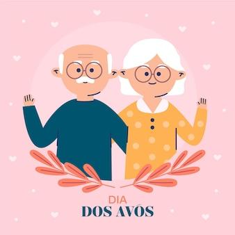 Płaska konstrukcja dia dos avós ilustracja z dziadkami