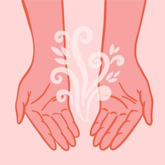 Płaska konstrukcja dłoni uzdrawiającej energię z kwiatowym elementem