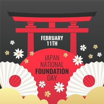 Płaska konstrukcja dnia założenia narodowego japonii