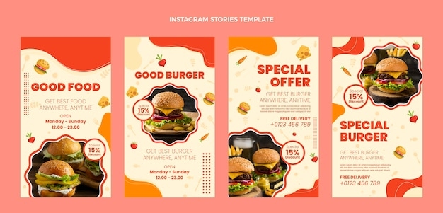 Płaska konstrukcja dobre historie o jedzeniu na instagramie