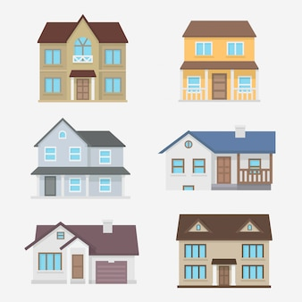 Płaska konstrukcja domów zestaw ilustracji