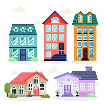 Płaska konstrukcja domu ilustracja zestaw