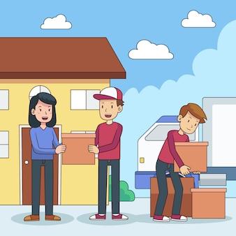 Płaska konstrukcja domu w ruchu ilustracja koncepcja z rodziną
