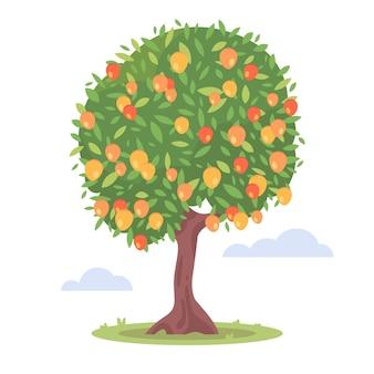 Płaska konstrukcja drzewa mango z owocami i liśćmi ilustrowana