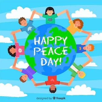 Płaska konstrukcja dzieci kreskówki na międzynarodowy dzień pokoju