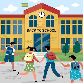 Płaska konstrukcja dzieci z powrotem do koncepcji szkoły