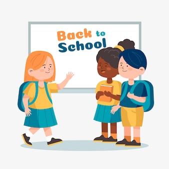 Płaska konstrukcja dzieci z powrotem do szkoły