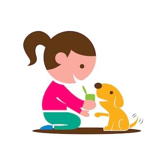 Płaska konstrukcja dziecka karmiącego szczeniaka