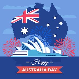 Płaska konstrukcja dzień australii ilustracja