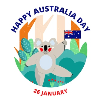 Płaska konstrukcja dzień australii koala ilustracja