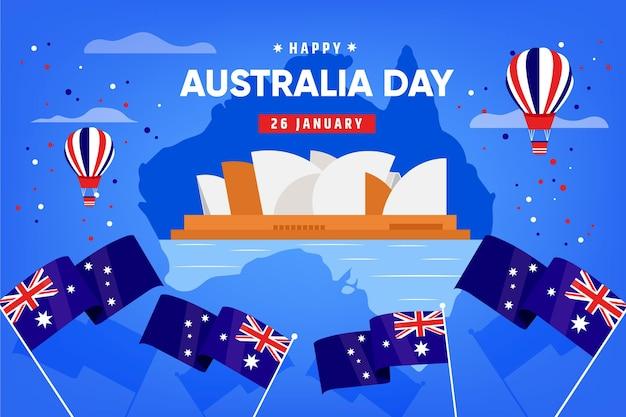 Płaska konstrukcja dzień australii z australijską mapą