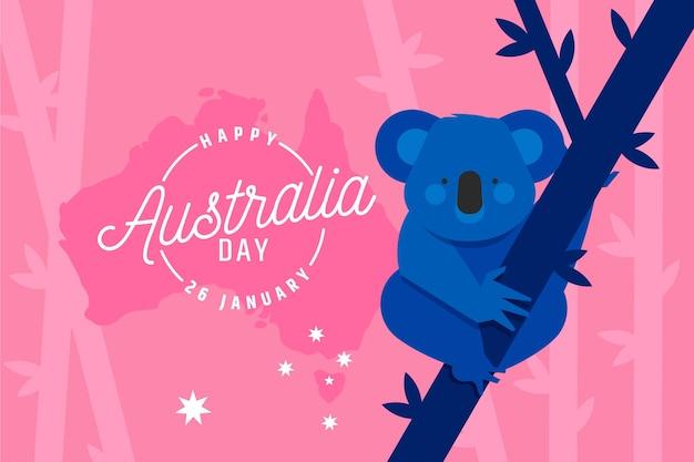 Płaska konstrukcja dzień australii z koalą na drzewie