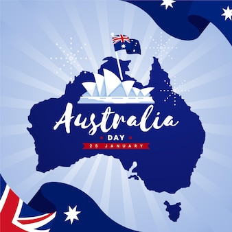 Płaska konstrukcja dzień australii z mapą