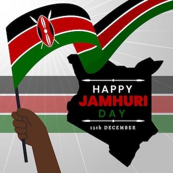 Płaska konstrukcja dzień jamhuri z flagą