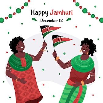 Płaska konstrukcja dzień jamhuri z ludźmi