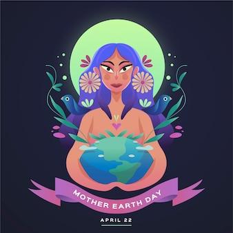 Płaska konstrukcja dzień matki ziemi