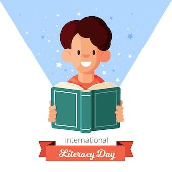 Płaska konstrukcja dzień międzynarodowego alfabetyzacji w tle