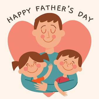 Płaska konstrukcja dzień ojca ilustracja z dziećmi