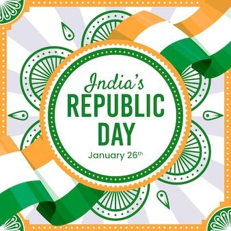 Płaska konstrukcja dzień republiki indii z flagą