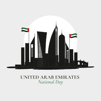 Płaska konstrukcja dzień zjednoczonych emiratów arabskich